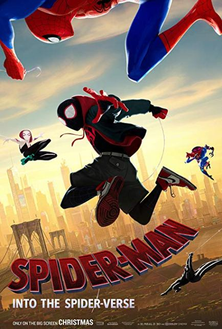 """Poster Image of Oscar winning Best Animated Feature movie """"Spider-Man: Into the Spider-Verse"""
